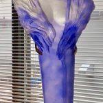 Lavender Nike half torso glass statue